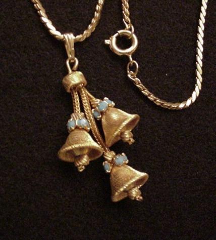 Vintage Bells & Rhinestones Necklace
