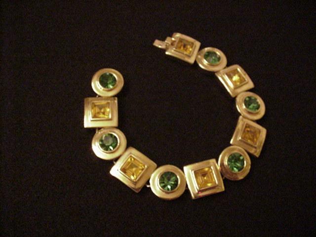 Citrine and Emerald Rhinestone bracelet