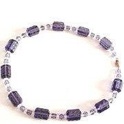 Violet Pressed Glass Necklace