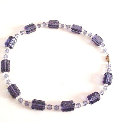 Violet Pressed Glass Necklace