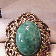 Green Art Glass Ring