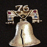 Liberty Bell Pin with Rhinestones