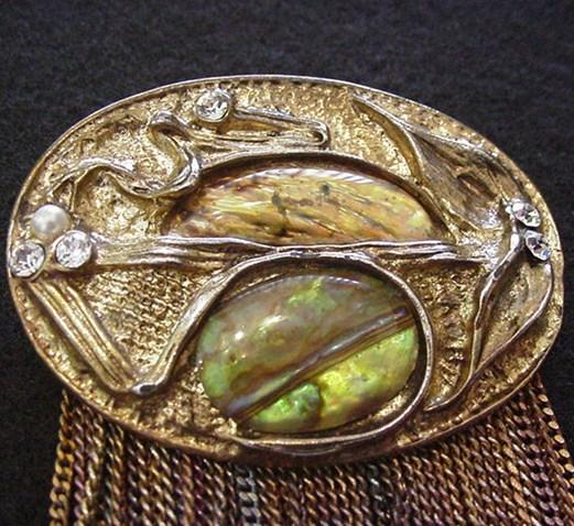 Art Glass and Rhinestone Pin