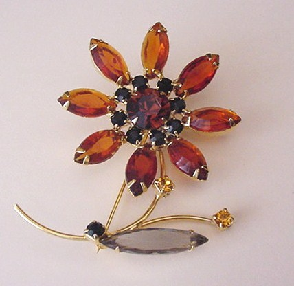Black and Amber Rhinestones Pin