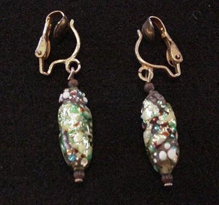 Fiery Art Glass Earrings