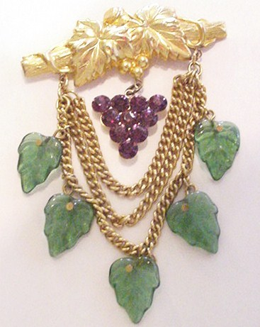 Grapevine with Glass Leaves and Rhinestones Pin