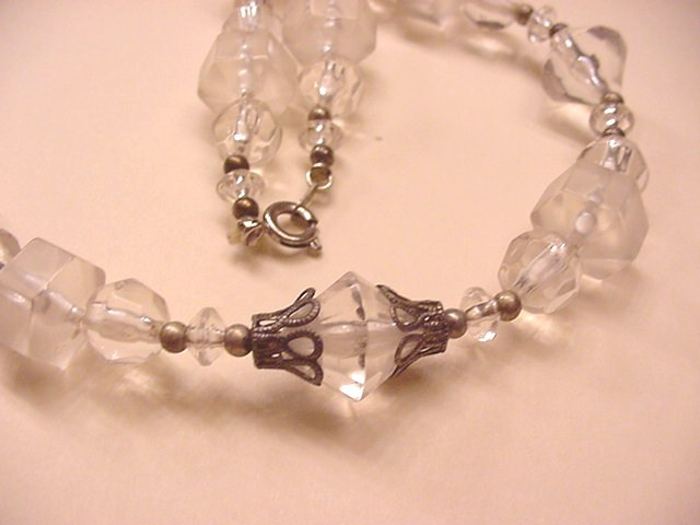 Crystal Clear and Frosted Beads Necklace