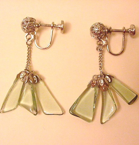 Pale Green Glass Earrings