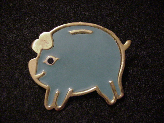 Blue Piggy Bank Pin