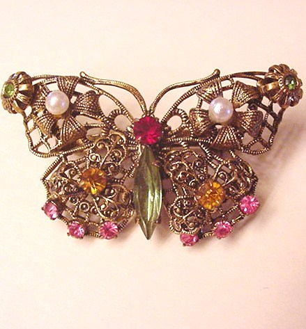 Antiqued Brass and Glass Rhinestone Butterfly Pin