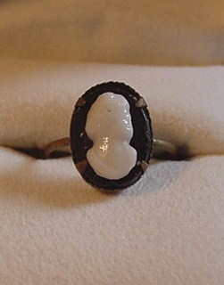 Delicate Czech Brass and Glass Cameo Ring