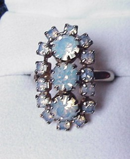 Vintage Opalescent Rhinestone Cocktail Ring