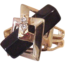 Black Glass Modernist Ring