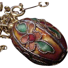 Chinese Enamel Egg Pendant Necklace