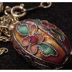 Chinese Enamel Egg Pendant Necklace