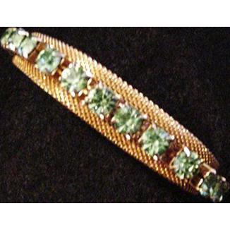 Peridot Glass Rhinestone Bracelet