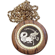 Capricorn on Polished Oak Medallion Necklace