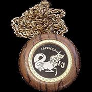 Capricorn on Polished Oak Medallion Necklace
