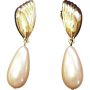 Givenchy Large Faux Pearl Costume Earrings