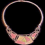 Orange Enamel Necklace