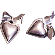 Hearts and Bows Sterling Silver Earrings