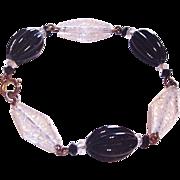 Clear Etched Glass Panels Bracelet