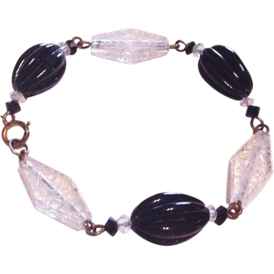 Clear Etched Glass Panels Bracelet