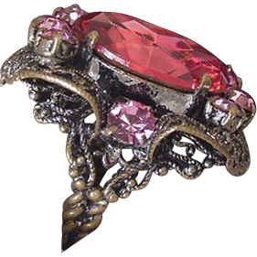 Large Brass and Pink Glass Cocktail Ring