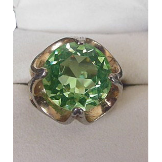 Large Peridot Glass Rhinestone Ring