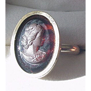 Tortoiseshell Glass Cameo Ring