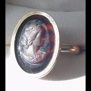 Tortoiseshell Glass Cameo Ring