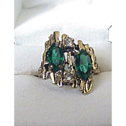 Asymmetrical Green Rhinestone Ring