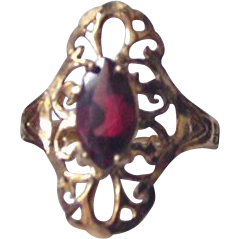 Sterling Vermeil Filigree and Rhinestone Ring