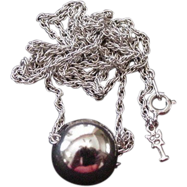 Silver Color Trifari Ball and Longchain Necklace