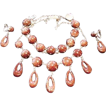 Sterling Silver and Goldstone Necklace Set