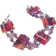 Vintage Carved and Polished Amber Bracelet
