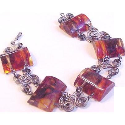 Vintage Carved and Polished Amber Bracelet