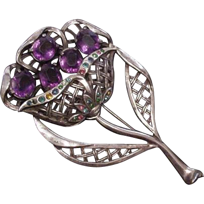 Vintage Pot Metal and Purple Rhinestones Pin