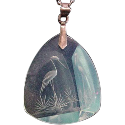 Glass Intaglio Crane Necklace