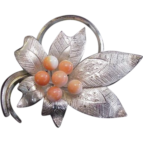 Silver and Coral Floral Pin