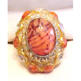 Coral Art Glass Ring