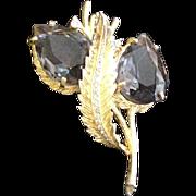 Smokey Quartz Rhinestone Pin