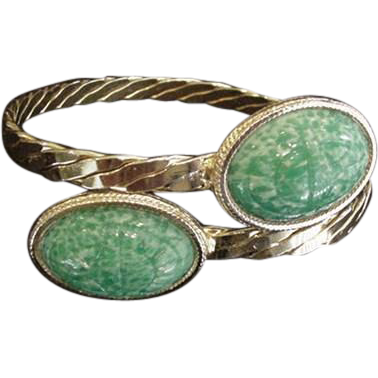 Green Glass Scarab Bracelet