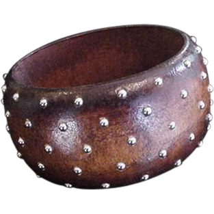 Wide Studded Bangle Bracelet