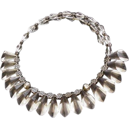 Clear Lucite Fringe Collar Necklace