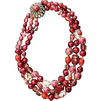 Vintage Red Bead and Art Glass Necklace