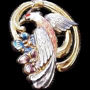 Vintage Polychrome Enamel Hummingbird Pin