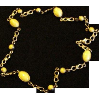 Sterling Silver Egg Yolk Amber Necklace
