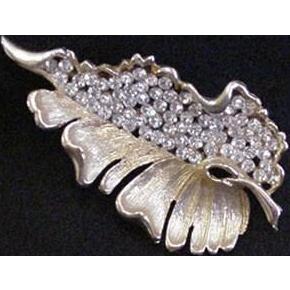 Pave Rhinestone Leaf Pin