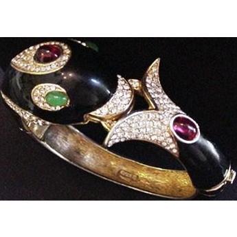 Black Enamel Ciner Dolphin Bracelet